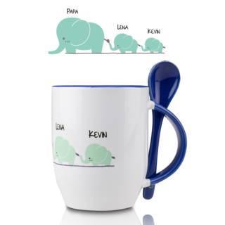 """""""Elefantenfamilie"""" - Löffel-Tasse mit Namen"""