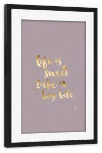 Gerahmtes Poster- Typografie - m.belle - life is sweet