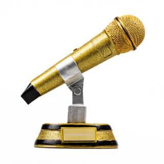 Glitzernde Mikrofon-Statue mit Gravur