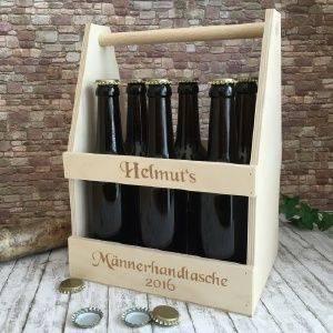 Männerhandtasche / Bierträger mit Gravur